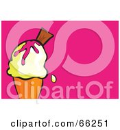Royalty Free RF Clipart Illustration Of A Single Scoop Ice Cream Waffle Cone On Pink