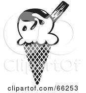 Royalty Free RF Clipart Illustration Of A Black And White Ice Cream Waffle Cone