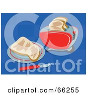 Royalty Free RF Clipart Illustration Of Slices Of Toast And A Toaster On A Checkered Blue Background