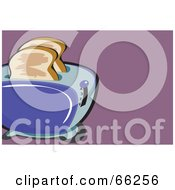 Royalty Free RF Clipart Illustration Of Bread In A Toaster On Purple