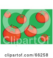 Royalty Free RF Clipart Illustration Of Ripe Red Tomatoes On Green