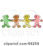 Royalty Free RF Clipart Illustration Of A Row Of Gingerbread Men Holding Hands