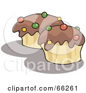 Royalty Free RF Clipart Illustration Of Two Chocolate Frosted Cupakes