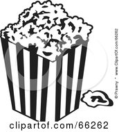 Royalty Free RF Clipart Illustration Of A Black And White Movie Popcorn Container