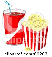 Royalty Free RF Clipart Illustration Of A Fountain Soda With Buttered Popcorn