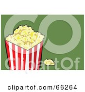 Royalty Free RF Clipart Illustration Of A Container Of Buttery Popcorn On Green