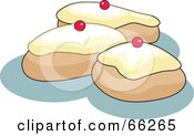 Royalty Free RF Clipart Illustration Of Three Iced Buns On Blue
