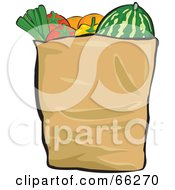Royalty Free RF Clipart Illustration Of A Paper Grocery Bag Filled With Healthy Veggies And Fruits