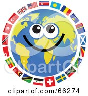Royalty Free RF Clipart Illustration Of A Global Face Character With International Flags by Prawny