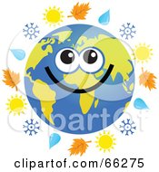 Royalty Free RF Clipart Illustration Of A Global Face Character With Autumn Leaves Rain Drops Snowflakes And Suns