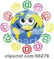 Royalty Free RF Clipart Illustration Of A Global Face Character With At Symbols