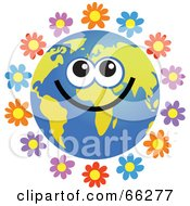 Royalty Free RF Clipart Illustration Of A Global Face Character With Flowers by Prawny
