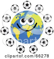 Royalty Free RF Clipart Illustration Of A Global Face Character With Soccer Balls