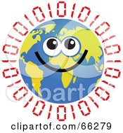 Royalty Free RF Clipart Illustration Of A Global Face Character With Binary Code