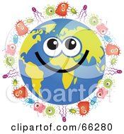Royalty Free RF Clipart Illustration Of A Global Face Character With Bacteria