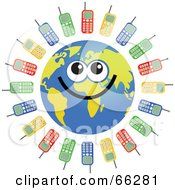 Royalty Free RF Clipart Illustration Of A Global Face Character With Cell Phones