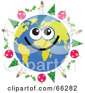 Royalty Free RF Clipart Illustration Of A Global Face Character With Christmas Trees Holly Baubles And Snowmen