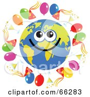 Royalty Free RF Clipart Illustration Of A Global Face Character With Party Balloons Hats And Champagne