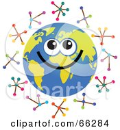 Royalty Free RF Clipart Illustration Of A Global Face Character With Molecules