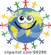 Royalty Free RF Clipart Illustration Of A Global Face Character With Diverse People