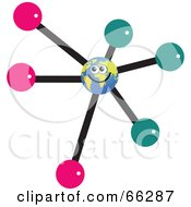 Royalty Free RF Clipart Illustration Of A Global Face Character In The Center Of A Molecule