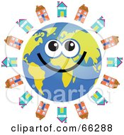 Royalty Free RF Clipart Illustration Of A Global Face Character With Houses
