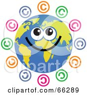 Royalty Free RF Clipart Illustration Of A Global Face Character With Copyright Symbols by Prawny
