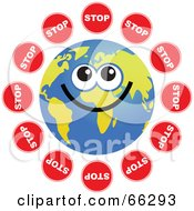 Royalty Free RF Clipart Illustration Of A Global Face Character With Stop Signs by Prawny