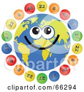 Royalty Free RF Clipart Illustration Of A Global Face Character With Lottery Balls by Prawny
