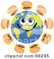 Royalty Free RF Clipart Illustration Of A Global Face Character With Cheeseburgers by Prawny
