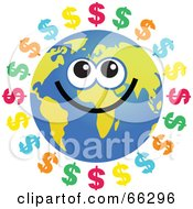 Royalty Free RF Clipart Illustration Of A Global Face Character With Dollar Symbols by Prawny