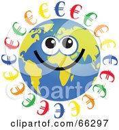 Royalty Free RF Clipart Illustration Of A Global Face Character With Euro Symbols by Prawny