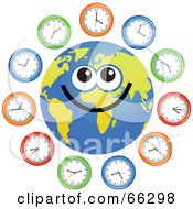 Royalty Free RF Clipart Illustration Of A Global Face Character With Clocks
