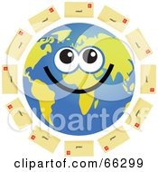 Royalty Free RF Clipart Illustration Of A Global Face Character With Email Envelopes by Prawny