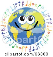 Royalty Free RF Clipart Illustration Of A Global Face Character With Music Notes by Prawny