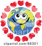 Royalty Free RF Clipart Illustration Of A Global Face Character With Hearts by Prawny