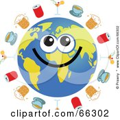 Royalty Free RF Clipart Illustration Of A Global Face Character With Cocktails Coffee Beer And Soda by Prawny