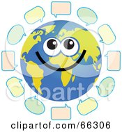 Royalty Free RF Clipart Illustration Of A Global Face Character With Text Bubbles by Prawny