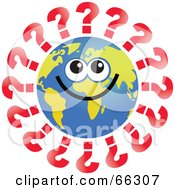 Royalty Free RF Clipart Illustration Of A Global Face Character With Question Marks by Prawny