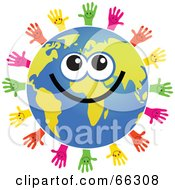 Royalty Free RF Clipart Illustration Of A Global Face Character With Hands by Prawny