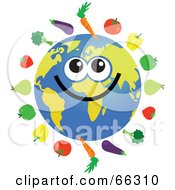 Royalty Free RF Clipart Illustration Of A Global Face Character With Fruits And Veggies by Prawny