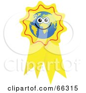 Royalty Free RF Clipart Illustration Of A Global Face Character On A Yellow Ribbon by Prawny
