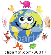 Royalty Free RF Clipart Illustration Of A Global Face Character With Animals by Prawny