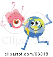 Royalty Free RF Clipart Illustration Of A Global Character Holding Bacteria