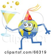 Royalty Free RF Clipart Illustration Of A Global Character Holding Champagne