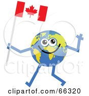 Royalty Free RF Clipart Illustration Of A Global Character Carrying A Canadian Flag