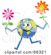 Royalty Free RF Clipart Illustration Of A Global Character Holding Flowers by Prawny