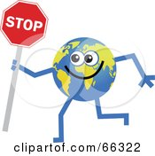 Royalty Free RF Clipart Illustration Of A Global Character Holding A Stop Sign