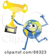 Royalty Free RF Clipart Illustration Of A Global Character Holding A Trophy