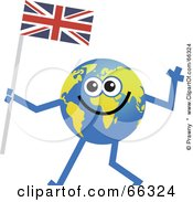 Royalty Free RF Clipart Illustration Of A Global Character Carrying A Union Jack Flag